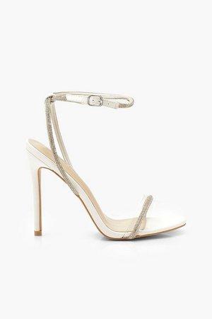 Embellished Clear 2 Part Heels | Boohoo white