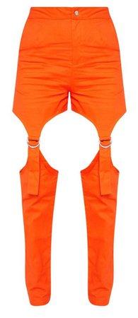 orange cut out pant
