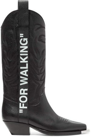 For Walking Embroidered Printed Textured-leather Knee Boots - Black