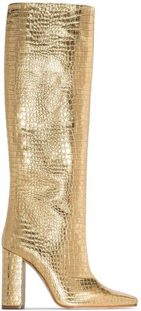 Gold tone 100 crocodile effect leather boots