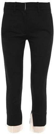 Gauze-trimmed Wool-and Cotton Blend Twill Slim-leg Pants