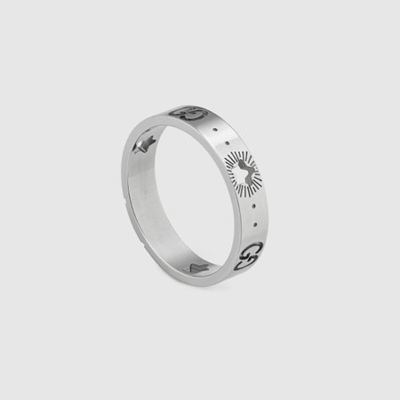 Icon white gold ring with stars | GUCCI® PT
