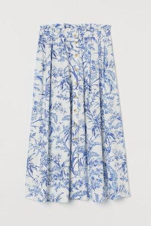 Linen-blend Skirt - White