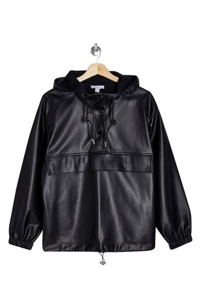 Topshop Faux Leather Hooded Pullover Jacket | Nordstrom