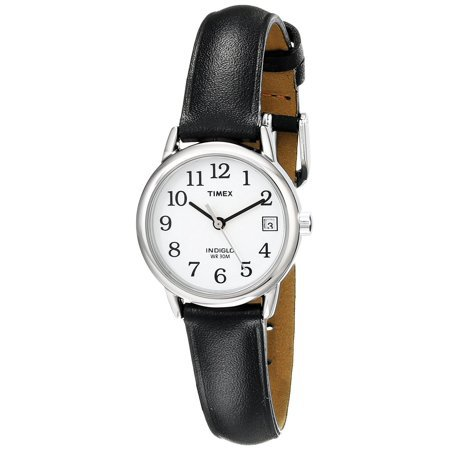timex - timex womens easy reader brass case black leather strap white dial silver watch - t2h331 - Walmart.com