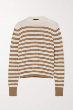 Ivory Button-detailed striped cashmere sweater   Loro Piana   NET-A-PORTER