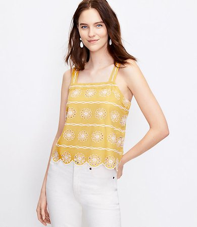 Floral Embroidered Square Neck Cami