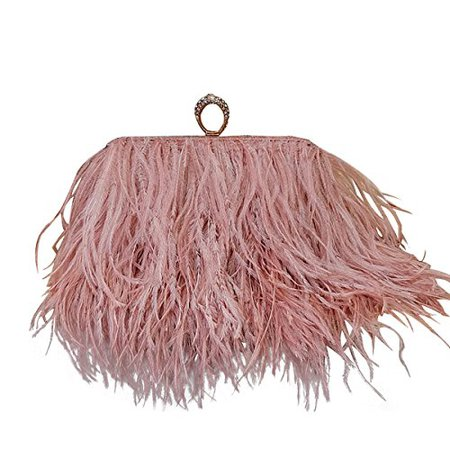 Homelex Real Natural Ostrich Feather clutch Shoulder Bag B0749JMWT3.jpg (500×500)