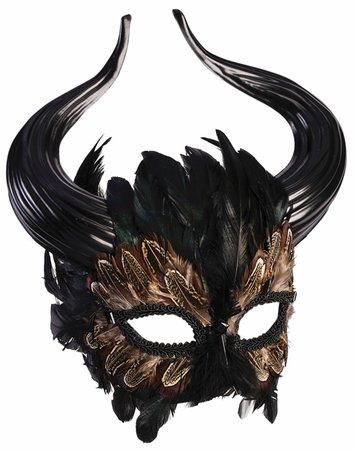 Mythical Creature Greek Minotaur Masquerade Mask Horns Bull Man Feathers Fantasy - www.dazzlingcostumes.com