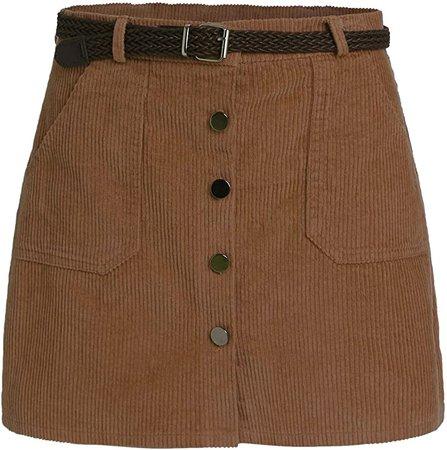 Romwe Women's Cute Mini Corduroy Button Down Pocket Skirt with Belt Brown