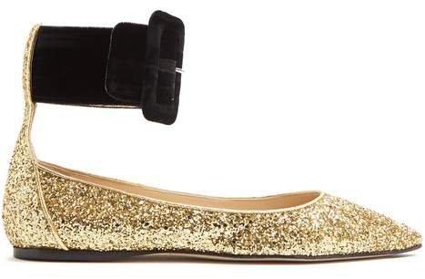 Julia Contrast Strap Glitter Flats - Womens - Gold Multi