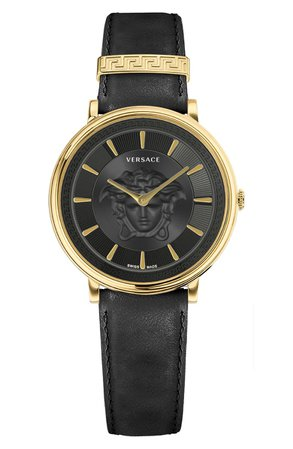 Versace V-Circle Leather Strap Watch, 38mm | Nordstrom