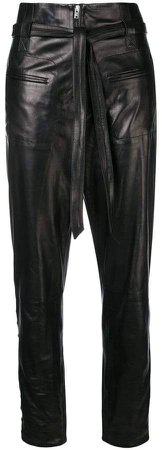 lambskin cropped trousers