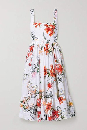 Floral-print Cotton-poplin Midi Dress - Ivory