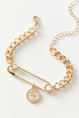 Safety Pin Coin Statement Bracelet | Urban Outfitters