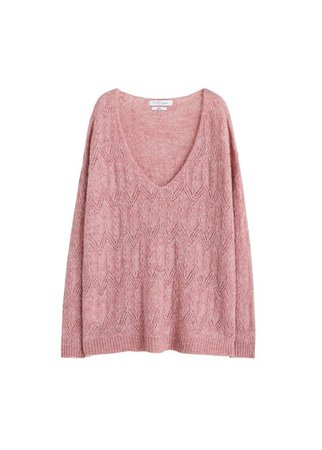 Violeta BY MANGO Openwork knit sweater