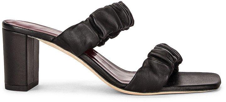 Frankie Ruched Sandal in Black | FWRD