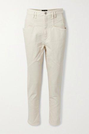 Ecru Nadeloisa paneled tapered pants | Isabel Marant | NET-A-PORTER