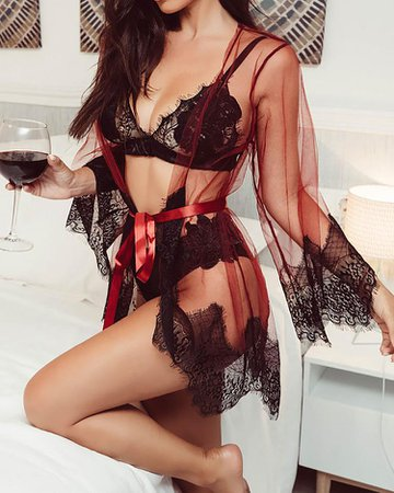 Sexy Sheer Eyelash Lace Belted Lingerie Online. Discover hottest trend fashion at chicme.com