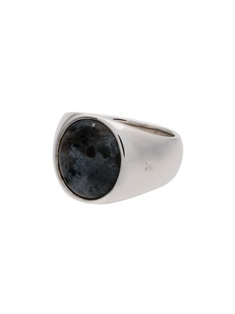 Tom Wood Sterling Silver And Opal Oval Larvikite Ring Ss20 | Farfetch.com