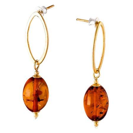 Be-Jewelled Amber & Gold Earrings