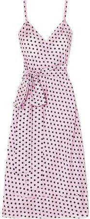 Mathews - Mavis Polka-dot Silk-habotai Midi Dress - Pastel pink