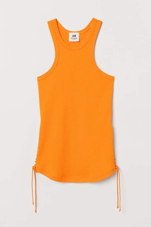 Ribbed Tank Top with Lace - Orange