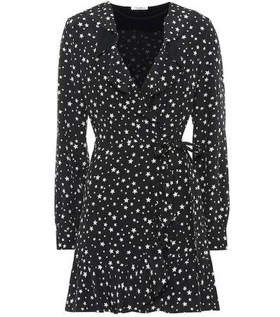 Star-printed silk wrap dress