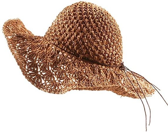 Foldable Handmade Weave Wide Brim Floppy Sun Straw Hat Bowknot Lace Shade Packable Summer for Women Ladies Light Brown
