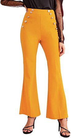 MakeMeChic Women's Elastic Waist Solid Flare Pants Stretchy Bell Bottom Trousers Yellow L at Amazon Women's Clothing store
