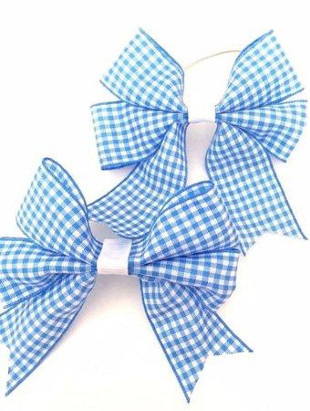 SCHOOL LIGHT BLUE GINGHAM HAIR BOBBLES BOWS HANDMADE IN PAIRS...   eBay
