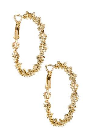 Amber Sceats Textured Hoop Earrings in Gold | REVOLVE