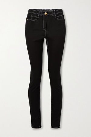 Black Embroidered high-rise skinny jeans | Balmain | NET-A-PORTER