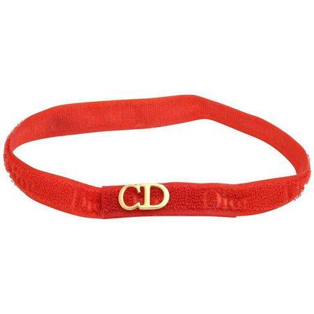 "Christian Dior ""CD"" Logo Red Choker For Sale at 1stdibs"