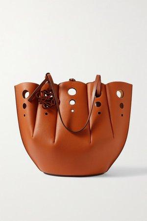 Shell Medium Cutout Leather Tote - Tan