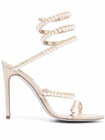 René Caovilla Cleo pearl-embellished sandals - FARFETCH