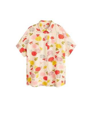 MANGO Floral linen-blend shirt