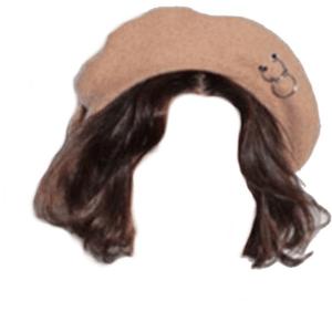 Short Brown Hair PNG Hat Beret