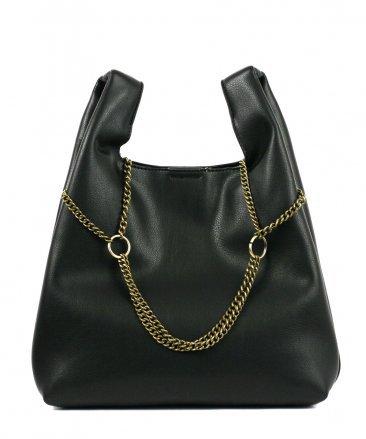 Fashionville.com - Handbags - Street Level Black Tote with Chain Detail