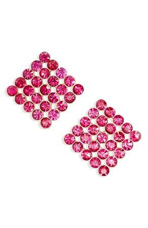 Stella + Ruby Billie Crystal Square Stud Earrings | Nordstrom