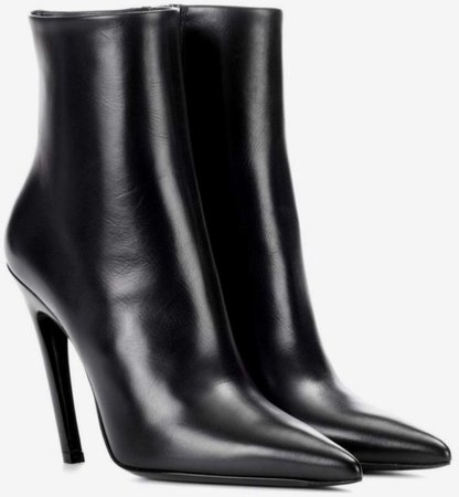 black pointed toe leather boots