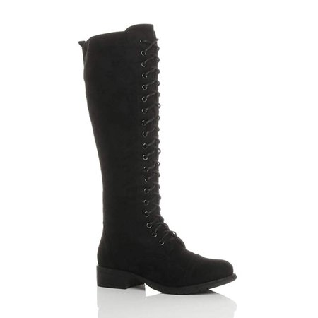 Ajvani Womens Ladies Low Block Heel lace up Zip Knee high Calf Biker Army Military Boots Size: Amazon.co.uk: Shoes & Bags