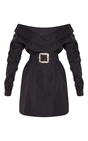 Black Bardot Belt Detail Shift Dress | PrettyLittleThing USA