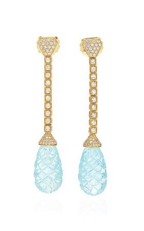Goshwara G-ONE' Aqua Carved Earring