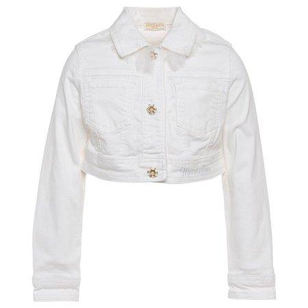 White Crop Jean Jacket W/Ruffle