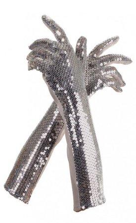 silver sparkly gloves