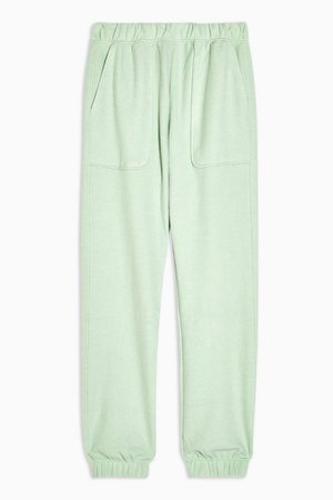 Green Brushed Oversized Joggers   Topshop