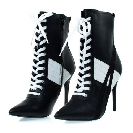 Black and White Lace up Boots Harley Quinn Stiletto Heel Booties for School, Anniversary, Going out | FSJ