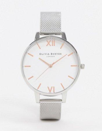 Olivia Burton silver large white dial mesh watch | ASOS