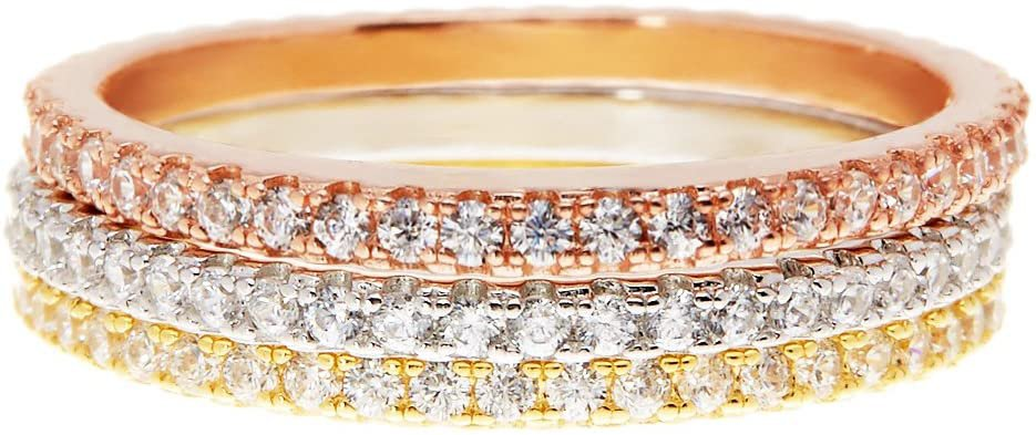 Amazon.com: PAVOI 14K Gold Plated Sterling Silver CZ Simulated Diamond Stackable Ring Eternity Bands for Women: Clothing